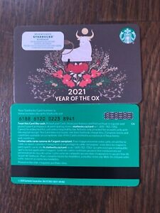 """Canada Series Starbucks """"YEAR OF THE OX 2021"""" Gift Card WITH BLACK MAG STRIPE"""