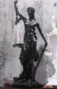 Greek Goddess Themis Statue Black Finish Figurine Blind Lady Justice Sculpture