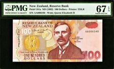 New Zealand $100 1st Prefix LOW AA 000340 P-181a 1992 SUPERB GEM UNC PMG 67 EPQ