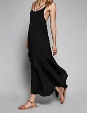 Free People Beach Keep the Tempo Layered Maxi Dress in Black - Size Large