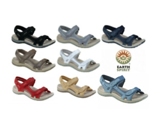Earth Spirit Frisco Ladies Leather Touch Fast Double Strap Comfort Sandals