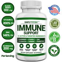Immune Support w Elderberry, Vitamin C, Echinacea, Zinc, Turmeric & Probiotics
