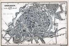 Groningen Groningue 1901 kl. orig. plattegrond + frans reisgids (2 p.) Heere pl.