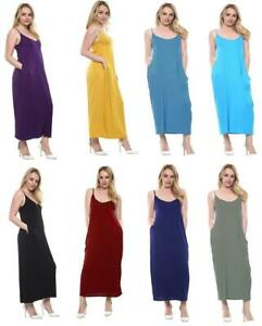 UK Womens Summer Casual Sleeveless Strappy Long Loose Cami Maxi Pocket Dress