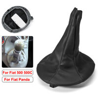Gear Stick Shift Knob Gaiter Boot Cover Black Leather For Fiat 500 500c Panda