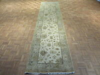 3 X 12 Runner Hand Knotted Ivory Sky Blue Oushak Oriental Rug Vegetable Dyes