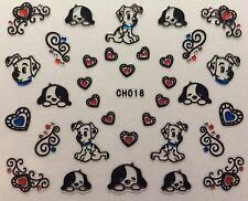 Nail Art 3D Decal Stickers Dalmations Puppy Dogs Hearts CH018