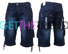 Mens Denim Shorts Designer Crosshatch Jeans Cargo Casual 3/4 Knee Length Combat