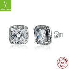 Hot Sales Authentic 925 Sterling Silver Timeless Elegance Stud Earrings Clear CZ