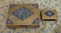 Vintage Cigarette Box with Match Holder Cloisonne and Brass Wood Lined