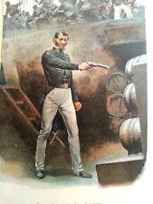 Bisson faisant sauté la lamproie gravure ancienne en couleur