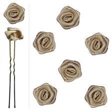 6 épingles pics cheveux chignon mariage mariée danse fleur satin marron taupe