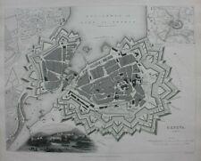 GENEVA CITY PLAN, GENEVE, SWITZERLAND, original antique map, SDUK, 1844