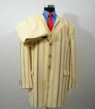 Falcone 52L 46x31 3PC Full Suit Vest Yellow Stripes Poly Blend
