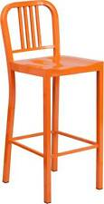 30'' Orange Indoor-Outdoor Restaurant Dining Bar Stool
