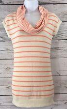 Poof Size M Cowl Neck Striped Longer Sweater Melon Orange Beige Ivory Cap Sleeve