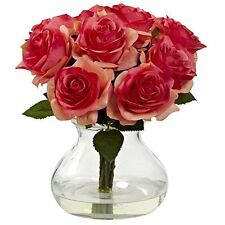 Nearly Natural 1367-dp Rose Arrangement With Vase - Dark Pink - Walmart.com
