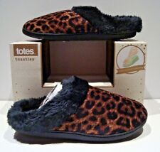 New Totes Toasties Womens Size Xl 9½-10 Leopard Animal Memory Foam Slippers