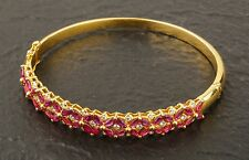 Marquis-Shaped Ruby and White Diamond Tennis Bracelet with 14K Yellow Gold!