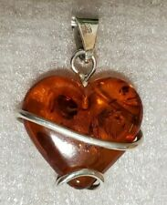 Amber Heart Wrapped in 925 Sterling Silver Pendant - 4g