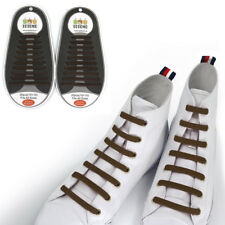 TOTOMO Brown No-Tie Elastic Shoelaces Silicone Tieless Shoe Laces for Running