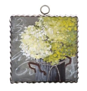 Round Top Collection NWT - Mini Impression Hydrangea Print - Metal & Wood