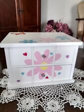 Girl's White Wooden Pink Flowers Butterfly Mirror Jewelry Box