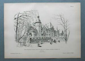 AR93) Architektur Eisenach 1893 Schloss Pflugensberg Nordseite Holzstich 28x39cm