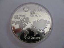 1973 Proof $10 1976 Montreal Olympics #1-Map World COIN ONLY Canada .925 silver