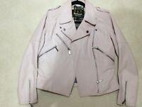 Barbour soft pink leather jacket size uk 12