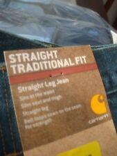 Carhartt Straight Tradiyion Fit Blue Jeans, 44 X 30 Straight Leg MEN'S Pants