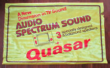 Vtg Large Yellow Quasar Audio Spectrum Sound Advertising Banner Sign Union Made