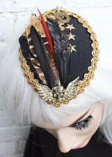 TEAR DROP FEATHER STEAM PUNK HAT CLOCKWORK CLOCK VICTORIAN STUD FEATHER GOTH