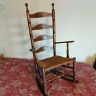 18th Century Pilgrim Slat Ladder Back Rocker, Rush Seat