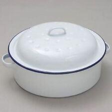 20cm Falcon Enamel Round Roasting Tray Tin Oven Roaster Casserole White Dish Pan