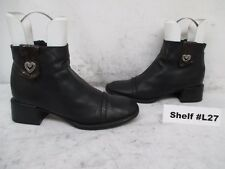BRIGHTON Lonnie 2 Black Leather Zip Ankle Boots Size 8.5 M
