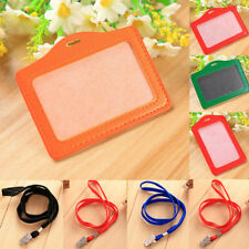 ·20 Colors ID Window Card Holder Leather Case Badge Necklace Neck Strap Lanyard