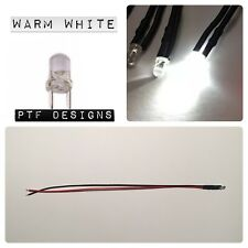 1 Warm White LED 9-12 Volts Pre Wired 3mm DC , Extra Lighting For Building Flats