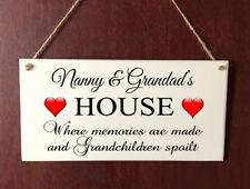 Grandchildren DELUXE Plaque Nanny & Grandad House Butterfly Sign Gift Present