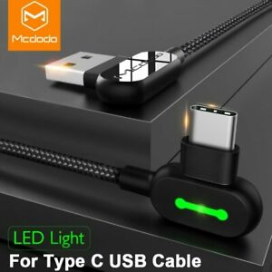 Mcdodo 3M 90 Degree USB Type C Fast Charging Cable fr Samsung Note 10 S10 Huawei