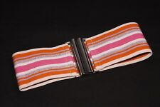 Chic Funky Girly Pink Multicolored Sparkly Stripy Waist Elastic Belt (S399)