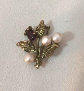 Vintage 9k Gold Almandine Garnet & Genuine Pearl Brooch Pin