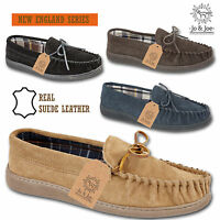 MENS GENTS REAL SUEDE LEATHER MOCCASIN SLIPPERS COMFORT SHOES SIZE UK 7 - 12