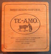 TE-AMO Wood Cigar Box Meditation Natural San Andres with Paper & Holder Vintage