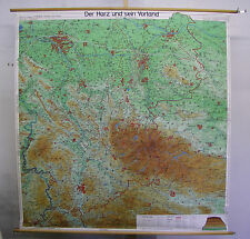 Scheda crocifissi Muro Mappa Map Weser montagna paese resina Solling Elm Deister 181x186 ~ 1960