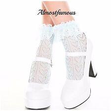 Vintage Lace Ruffle Frilly Ankle Socks Fashion Ladies Black White Retro uk stock