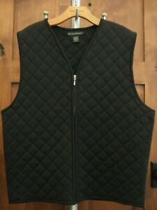 VTG.BANANA REPUBLIC Men's BLACK QUILTED WOOL ZIP SWEATER VEST, LARGE, made ITALY