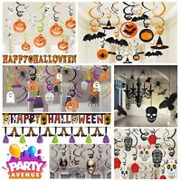 Halloween Hanging Decorations Witch Skeleton Banners Garlands Swirls Props
