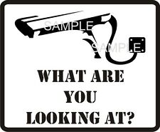 Banksy Style CCTV Security Device Warning Sticker X1 what are you looking at?