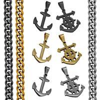 Edelstahl Halskette + Anhänger Anker Steuerrad Schiff Meer Panzerkette Kette